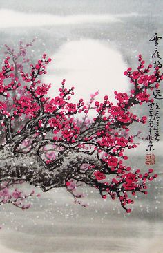 Japanese Drawings, Japanese Artwork, Chinese Cherry Blossom, Cherry Blossoms, Chinese Painting, Chinese Art, Chinese Picture, Cherry Blossom Painting, Bild Tattoos
