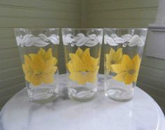 vintage yellow glass with yellow flowers -