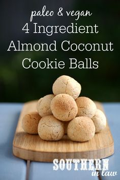 Easy Paleo Almond Coconut Cookie Balls Recipe - gluten free, vegan, paleo, sugar free, healthy, clean eating recipe, 4 ingredients