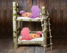 REAL WOOD Photo Prop Log bed Newborn photography prop hand