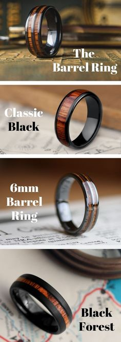 Men's Unique Wedding Rings! These wooden rings are crafted out of the most durable materials. Inlaid with natural koa wood. These wooden wedding ring are perfect for those who love the great outdoors. So many wooden rings to pick from! All these wooden rings are 100% waterproof. #mensweddingrings #mensweddingband #woodenrings #woodenweddingrings