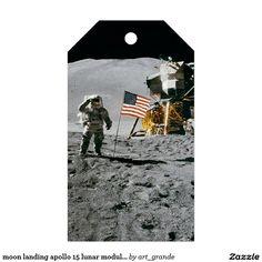 moon landing apollo 15 lunar module nasa 1971 gift tags