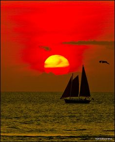 Sunset Sailboat at Ocracoke Island, NC