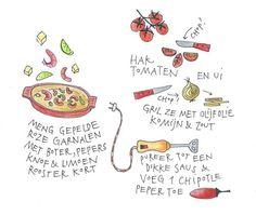 Tortilla's en garnalen