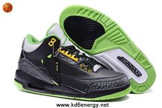 Black/Electric Green-Yellow Air Jordan 3