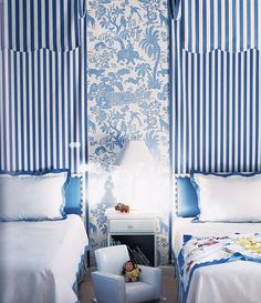 Alessandra Branca great mixture of textiles. I like the way she uses fabric for the headboards.