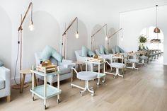 Nail Salon - Spa Interiors - Hospitality Design - Pendant Lighting - Aqua Furniture