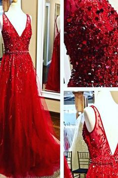 Beaded red tulle prom dress, v-neck prom dress, ball gown 2017