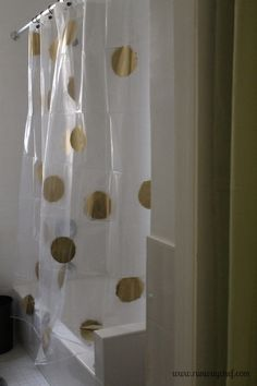 DIY Gold Polka Dotted Shower Curtain