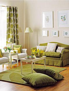 Salas decoradas em verde ~ Decoração e Ideias - casa e jardim