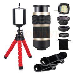 2017 8X Zoom Telephoto Lentes Selfie lamp Wide Angle Macro Fish eye Fisheye Lenses Tripod For iPhone Smartphone Cell Phone Lens