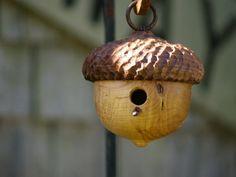 Woodland Acorn Birdhouse  Decorative Birdhouse by CattailsWoodwork, $75.00