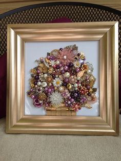 Vintage Jewelry Art Upcycled Recycled not Christmas Tree Framed Think Spring | eBay