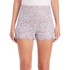 Diane von Furstenberg Fausta Lace Shorts (152.175 CRC) ❤ liked on Polyvore featuring women's fashion, shorts, apparel & accessories, lilac, scalloped edge shorts, scalloped lace shorts, lace shorts, scalloped shorts and scallop hem shorts