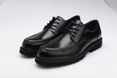 FGN Brand Men's Round Toe Genuine Leather Oxfords Shoes Outdoor Oxfords T560326 -Black