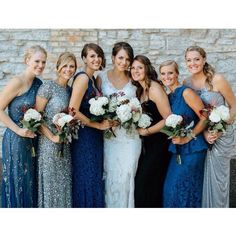 mixmatched long blue bridesmaid dresses - Google Search