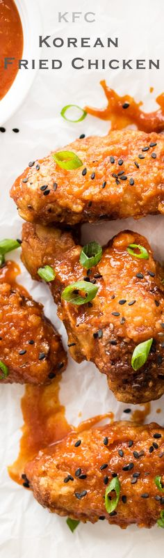 Super Crispy Korean Fried Chicken with Sweet and Spicy Sauce