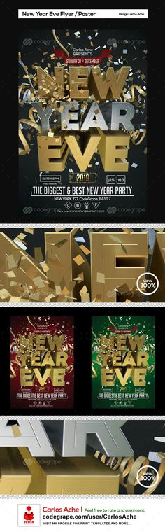 New Year Eve Flyer and Poster Template on @codegrape. More Info: https://www.codegrape.com/item/new-year-eve-flyer-and-poster-template/11175