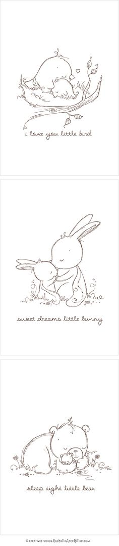 Baby Animal Sketches- would be super cute embroidered and framed