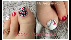 ♥ 2 Valentine's Day Nail Art Design Tutorials. (Handpainted Pedicures) ♥