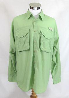 Columbia PFG Vented Long Sleeve 100% Nylon LT.Green Men's Medium Fishing Shirt #Columbia #VentedFishingShirt