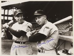 Passing the torch_ Joltin' Joe with rookie Mickey Mantle in 1951.