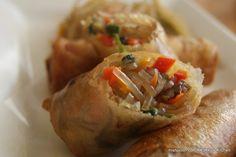 Korean Japchae Eggrolls (use vegetarian japchae to make a vegetarian japchae eggroll!)