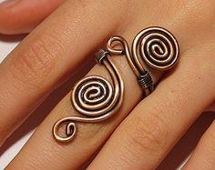 Amethyst ring, wire wrapped jewelry handmade, copper jewelry, copper ring, wire…