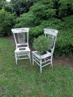 Garden Decor Vintage Chairs Plant Stand Fern Painted Furniture Planter Wedding Decor French Country Farmhouse Pottery Barn Style Beach House. $250.00, via Etsy.