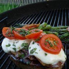 Grilled Italian Pork Chops! #dinner #Italian #cheese #veggies #grilled