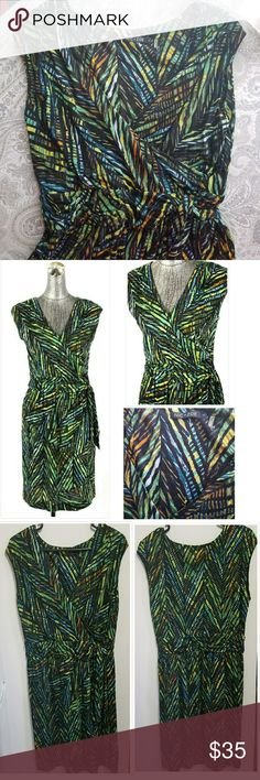 """Nic + Zoe wrap top casual green print dress EUC This Nic + Zoe dress is a casual fit and has a wrap style top with a """"built in"""" sash the at the waist.  With a full back, a plunging yet modest neckline, and a knee length skirt, this dress would work for both work OR cocktails out with your girlfriends!  The print is really fun and features shades of geeen, black, yellow, blue, and orange.  Size large. Fits a size 12/14 and accommodates up to 40.5 - 33 - 43 (bust - waist - hips) measurements…"""