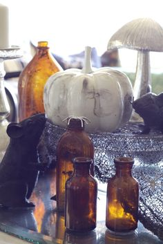 Amber bottles on Halloween Table
