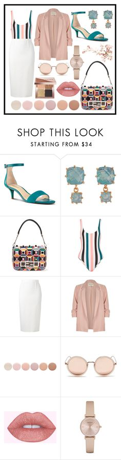 """Untitled #106"" by asena-cakmak on Polyvore featuring Nine West, Les Néréides, Fendi, Solid & Striped, Roland Mouret, River Island, Deborah Lippmann, Linda Farrow, Emporio Armani and Bobbi Brown Cosmetics"