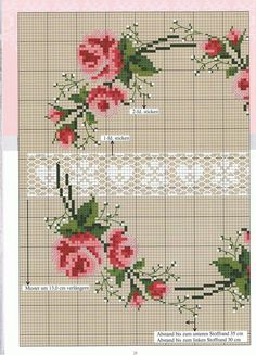 "Er vild med ""blonden"" inde i midten. Cross Stitch Pillow, Cross Stitch Love, Cross Stitch Pictures, Cross Stitch Borders, Cross Stitch Flowers, Cross Stitch Charts, Cross Stitch Designs, Cross Stitching, Cross Stitch Embroidery"
