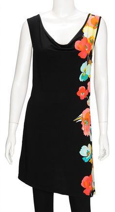Sleeveless Black Tunic with multi colour flower   pattern on left side    - Poly elastane + visose rayon mix fabric for a great fit and a bit of stretch    - Flower pattern along left side    - Cowl neck    Available sizes and length  sz 12: 86cm  sz 14: 86cm  s