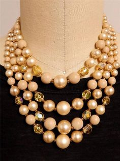 TAN FAUX PEARL CZECH GLASS BEAD THREE STRAND NECKLACE VINTAGE  #231A Old Jewelry, Antique Jewelry, Strand Necklace, Pearl Necklace, Czech Glass Beads, Vintage Antiques, Jewels, Ebay, Collar Necklace