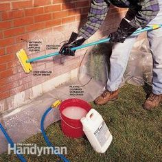 If your home's brick siding has hard-water stains from a lawn sprinkler, make the bricks look like new again using an an acid-based cleaner. This article shows you how.
