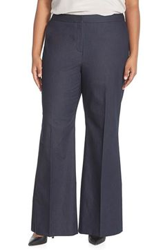 Halogen® High Waist Stretch Denim Wide Leg Trousers (Dark Indigo) (Plus Size) available at #Nordstrom