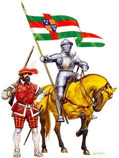 El ejército de Enrique VIII - Francia, 1544: Arquebusier & cavalryman alemán