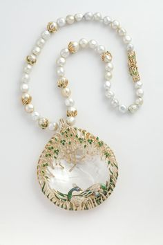 Peacock necklace from Jewels Emporium with carved emeralds, diamonds and enamel
