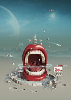 [ Colgate Total: Intergalactic Mouth The ultimate mouth protection. Advertising Agency: Y&R RedFuse, New York, USA Global Creative Director: Gloria de la Guardia ] Clever Advertising, Print Advertising, Marketing And Advertising, Advertising Campaign, Viral Marketing, Arte Online, Ad Of The World, Dental Art, Great Ads