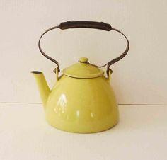 Vintage Yellow Kettle Descoware Iron Enamel by RefinedDecor