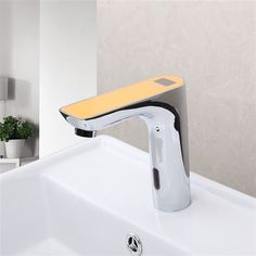 Orange Color Digital Electronic Automatic Motion Sensor Bathroom Touchless  Faucet Products Information: Faucet Style:u0026nbsp