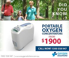 Did you know that you can purchase your Portable Oxygen Concentrators from $1900!   Call us on 1300 558 947 to find out more!