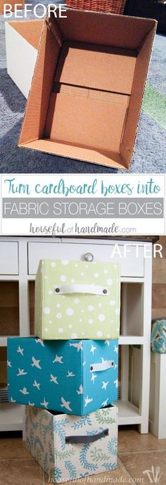 Upcycle cardboard boxes into beautiful fabric storage boxes. Easy tutorial that anyone can do.  Save yourself tons of money over buying storage boxes.   http://Housefulofhandmade.com