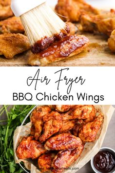 Crispy, saucy, BBQ Perfection! These quick and easy air fryer BBQ Chicken wings always turn out perfect. Wings are tossed in a crispy seasoned coating and air fried until golden, then brushed with your favorite bottled sauce for the ultimate short cut that will have dinner on the table in under 20 minutes! #airfryer #airfryer chicken wings #bbq #honey bbq Honey Bbq Chicken Wings, Air Fryer Chicken Wings, Fresh Chicken, Healthy Meals For Kids, Quick Easy Meals, Crispy French Fries, Fried Chicken Recipes, Breaded Chicken, Easy Recipes