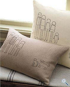 How cute are these family portrait pillows? easy to make...
