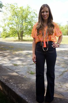 I love a good print & especially if it comes in bright colors like this Collective Concepts Top from Savvy. It is great to pair with shorts in the middle...