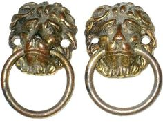 30% OFF! $8.95 PAIR of Antique / Vintage LION HEAD with Ring Solid Brass Drawer Handles Antique Drawer Pulls, Drawer Handles, Solid Brass, Drawers, Lion, Pairs, Antiques, Rings, Vintage