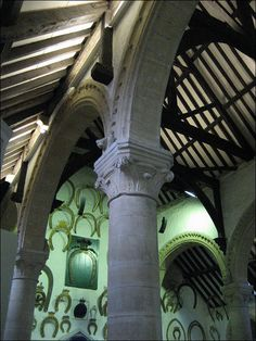 Great Hall, Oakham Castle - interior by Baz Richardson, via Flickr Horseshoes, Interior And Exterior, Castles, Britain, England, Cottage, History, Holiday, Beautiful